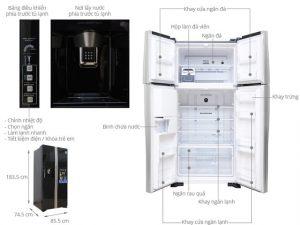 kích thước tủ lạnh 2 cánh hitachi